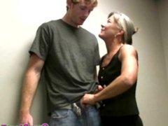 Greyhair granny amateur gives bukkake handjob