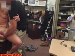 Amateur blonde sucking dick in pawn shop