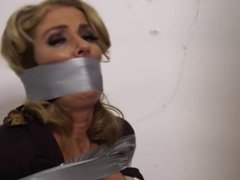 Lady girl bound and gag with duct tape a girl