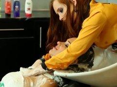 Hair washing saloon fetish