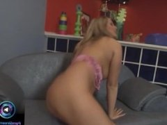 Exotic blonde Mandy Bright bend over and masturbating