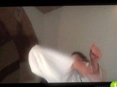 Girl in Karate Gi - High Kicks Demonstration (Part 1)