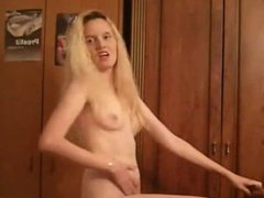 funny Blonde Bounces Small Tits On Webcam