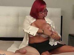 Redhead milf POV blowjob