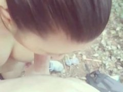 Asian Outdoor POV Blowjob