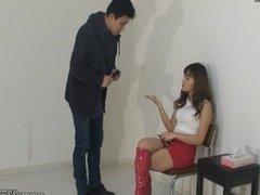 Japanese cute girl makes a man taste a tits for cash
