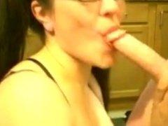 nerdy girl has a deep throat