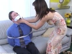 Man Gagged and tied up by woman