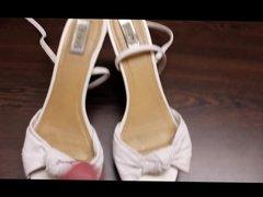 Cum on well worn high heel sandals before giving them away