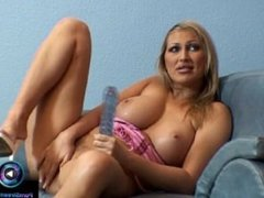 Footage of Mandy Bright having fun of her huge dildo