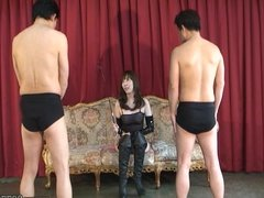 Two men is dominated by Japanese Mistress Aya Kisaki