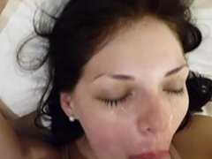 brunette facial cum load...