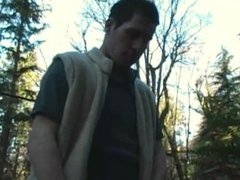 Straight guy jerks off in woods