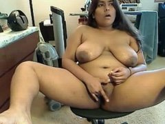 Indian BBW spreads wide and plays with her pussy on webcam