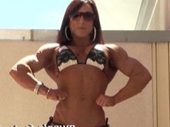 Very Built Woman Showing off Her Huge Biceps