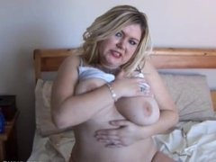 Naughty chubby honey plays with her juicy pussy for you