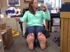 Two Hot Teen Girls Get Their Toes Tickled In Office