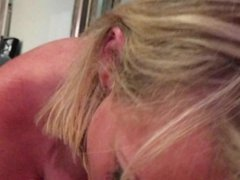 Blonde Beauty Sucks and Deepthroats BF's Cock!