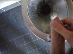 Cumming in public park toilet