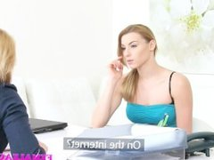 FemaleAgent Sexy blondes make each other cum in hot lesbian casting