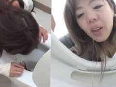 Asian Girl Puking in Toilet