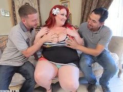 Redhead SSBBW Eliza Allure Takes on 2 Huge Cocks