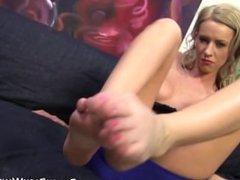 Slut footfucks black dick