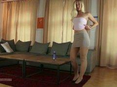 Blonde in pantyhose tease