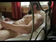 Young hairy bearded beefy UK stud jerking thick uncut cock huge cum spray