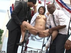 Slut moans as she gets to be toyed by the bla