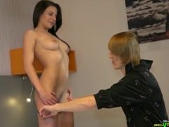 Granny and teen lesbian strapon toysex