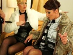 Fully Clothed Threesome in the Fur Shop