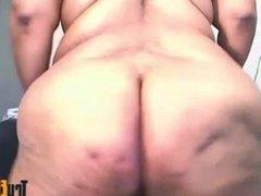 Old ebony masturbates hairy twat