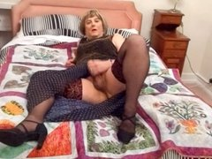 Shemale Carolyn in Black Stockings Wanks and Cums Hard