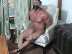 Hunky guy bound and gagged