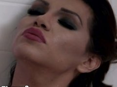 Shemale beauty rimmed and sucked in shower