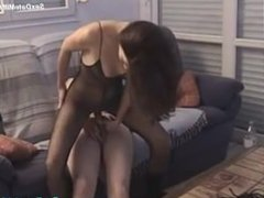 Sexy Mature Wife in Black Fishnet Fucks with Her Husband