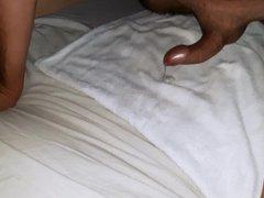 Humping bed cumshot (tight foreskin phimosis)