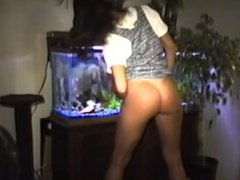 Wife shows her goodies. Hairy pussy, nice ass, short skirt.