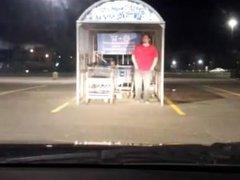 Public nudity in parking lot