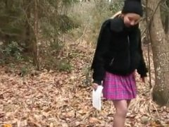 The girl in a fur coat guy sucks dick