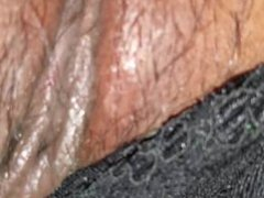 Wife's big Latina booty and wet hairy cunt licked and rubbed in her thong.