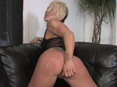 Sexy blond plays with sex toy