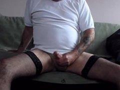 eating my cum in stockings