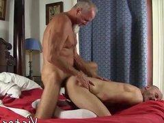 Pierced hairy daddy having bareback sex