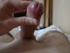 My BIG, WET and Uncut cock cums on my chest