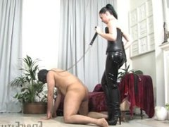 black haired mistress punishes balls