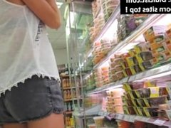 Candid camera in supermarket beautiful shorts asses