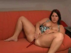 Fat CHubby Teen GF spreading and masturbating on her couch
