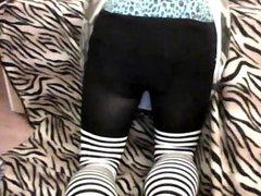 Cute teen CD trap girl plays on camera
